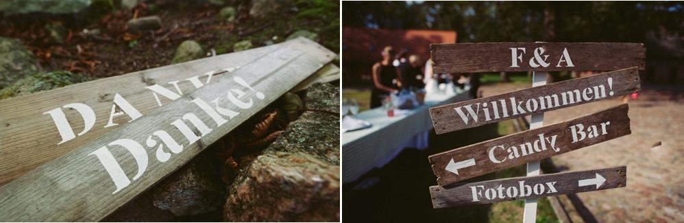 Schilder für Hochzeit